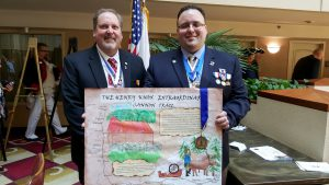 SAR National Poster Contest Chairman Dave Gilliard and SAR Gold Country Chapter President Greg Hill with the winning poster at the 2016 Youth Awards Luncheon for the SAR California State Society.