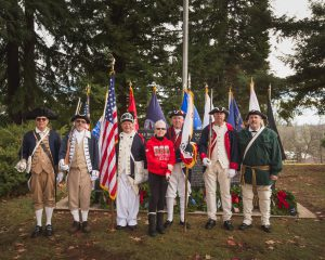 Gold Country Chapter Color Guard at the 2015 Wreaths Across America ceremony in Auburn, CA with WAA representative Paula Celick.