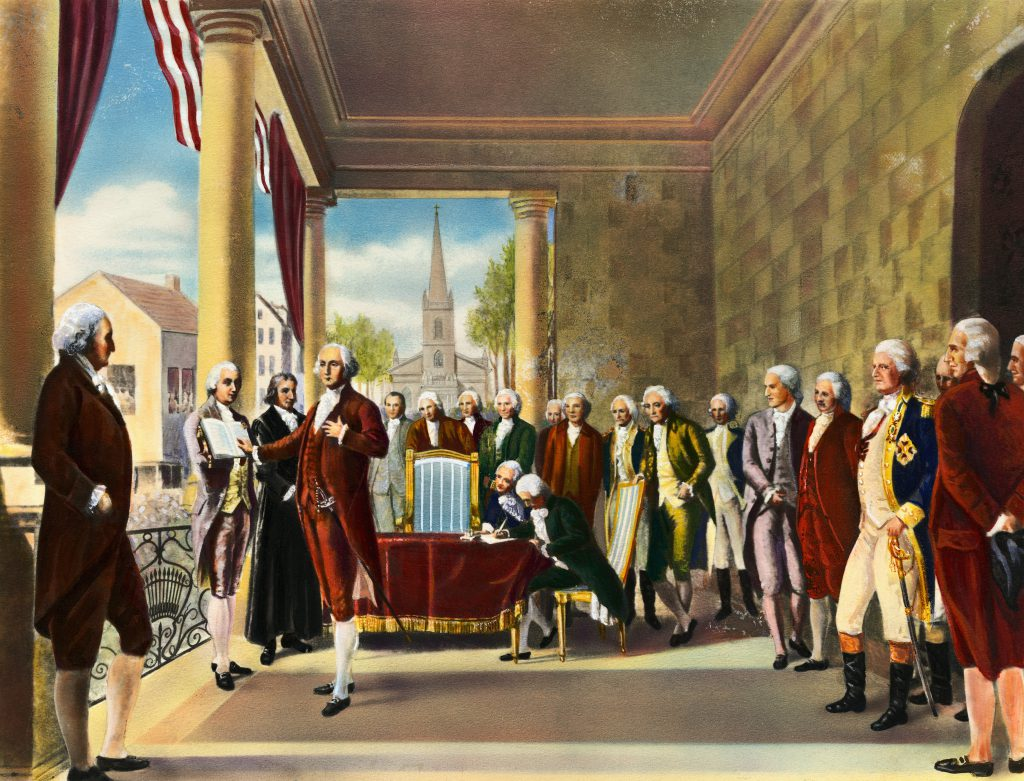 George Washington is shown taking the oath of office of Federal Hall. Undated color illustration.